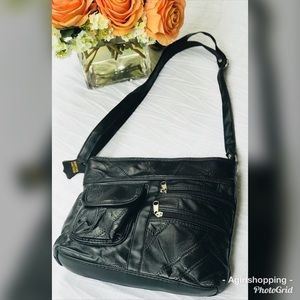 Handbags - New Black Leather Patchwork Crossbody Purse Bag